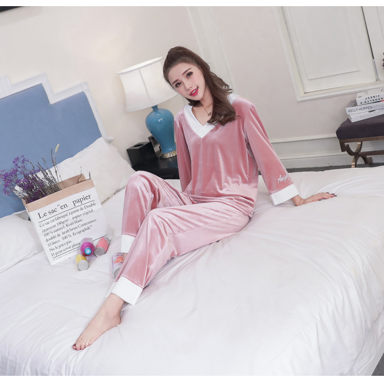 Girls Gold Velvet Pajamas Sets Women Autumn Winter Long Sleeve V-Neck Velour Pyjama Suit Warm Sleepwear Homewear Home Clothes 78