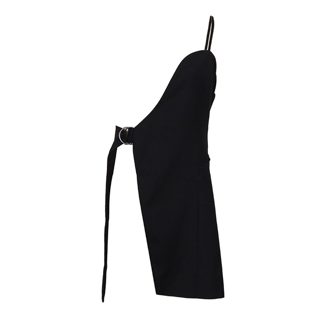 [EAM] Women Loose Fit Black Irrgular Bandage Stitch Vest New V-collar Sleeveless   Fashion Tide Spring Autumn 2021 1DA977 6