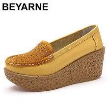 BEYARNE 가을 여성 신발 경량 스웨이드 가죽 여성 캐주얼 신발 로퍼 두꺼운 단독 증가 웨지 스윙 신발 Zapatos