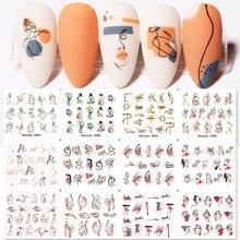 Harunouta 12 pçs etiqueta de água do prego diy sexy menina arte do prego papel decoração flor folhas marca dwaterágua decalques ferramenta