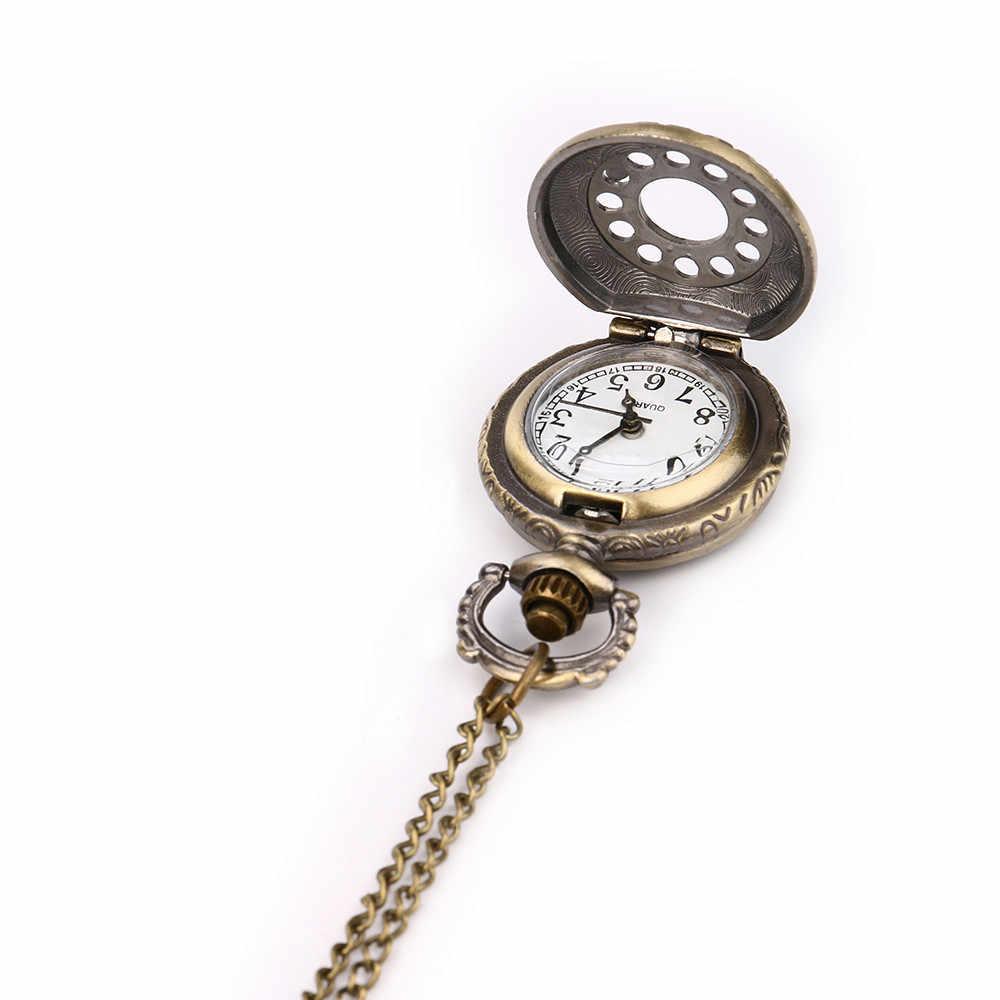 Yeni cep saati retro steampunk retro bronz tasarım cep saati kuvars kolye kolye elbise hediye cep saati женские 03