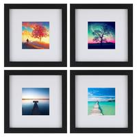 Onewall 4 Pcs 8x8inch Black Picture Frame Set Tempering Glass Mats for 4x4 Documents Wall Mounting Material Included Home Decor