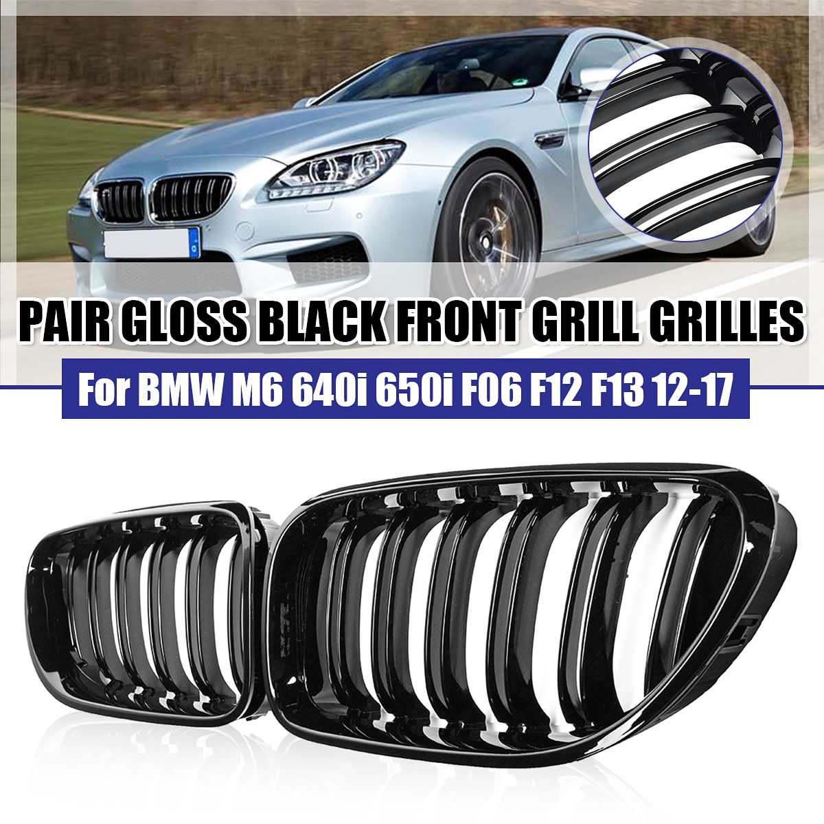 Pair ABS Gloss Black 2-Slat Kidney Racing Grille For BMW M6 640i 650i F06 F12 F13 2012 2013 2014 2015 2016 2017 Car Accessories image