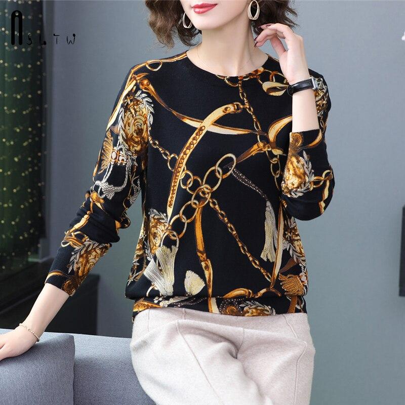 ASLTW Pullover Sweater Women New Autumn Print Long Sleeve Pull Femme Plus Size Women Sweater Jumper Causal Pullover