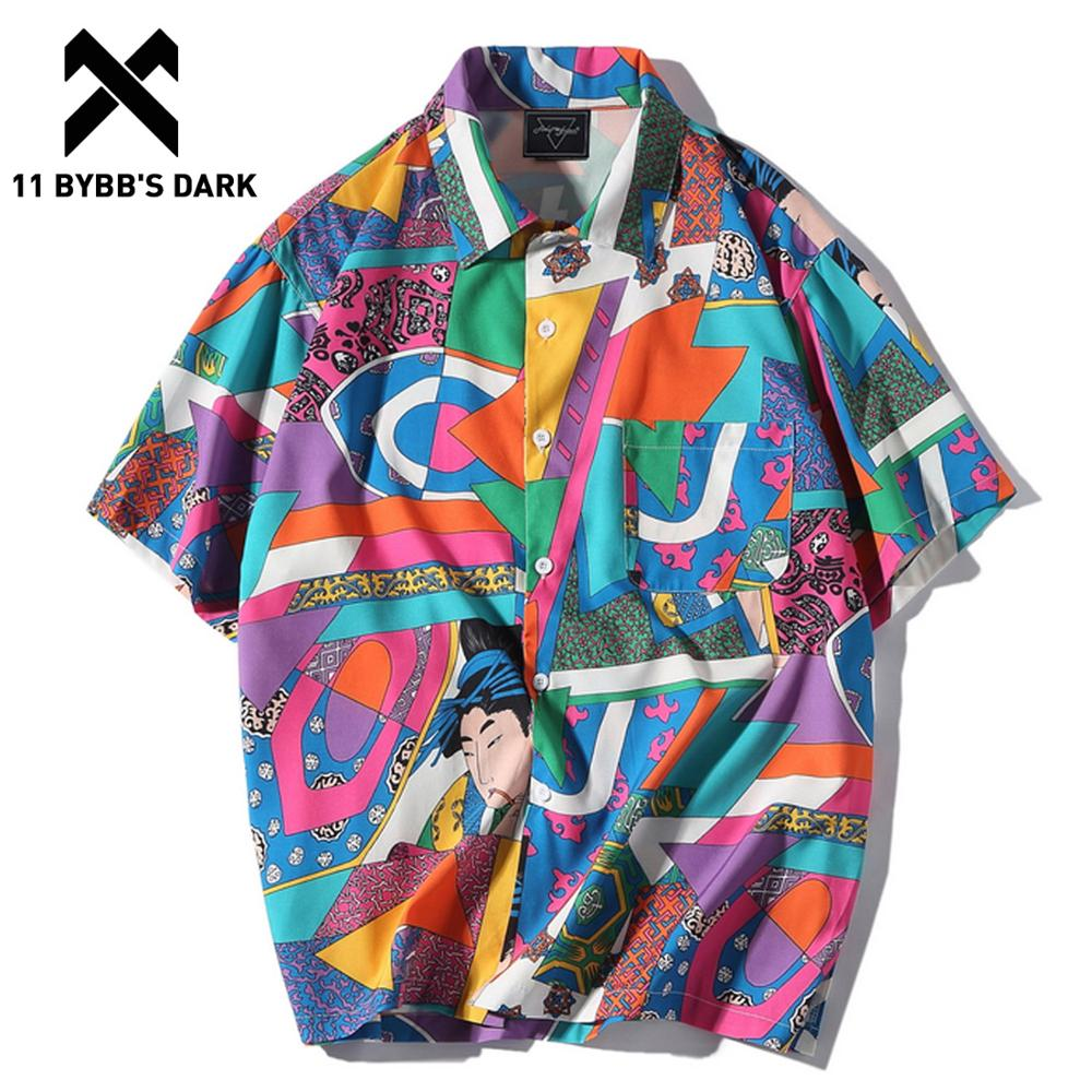 11 BYBB'S DARK Summer Hawaiian Shirts Men Hip Hop Japanese Streetwear Ukiyoe Casual Shirt Man Loose Soft Short Sleeve Shirts