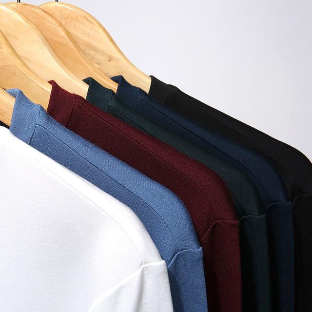 Comfort 8 colores Camiseta de manga larga para hombre 2020 primavera otoño nueva camiseta de seda Mulberry con cuello en V para hombre