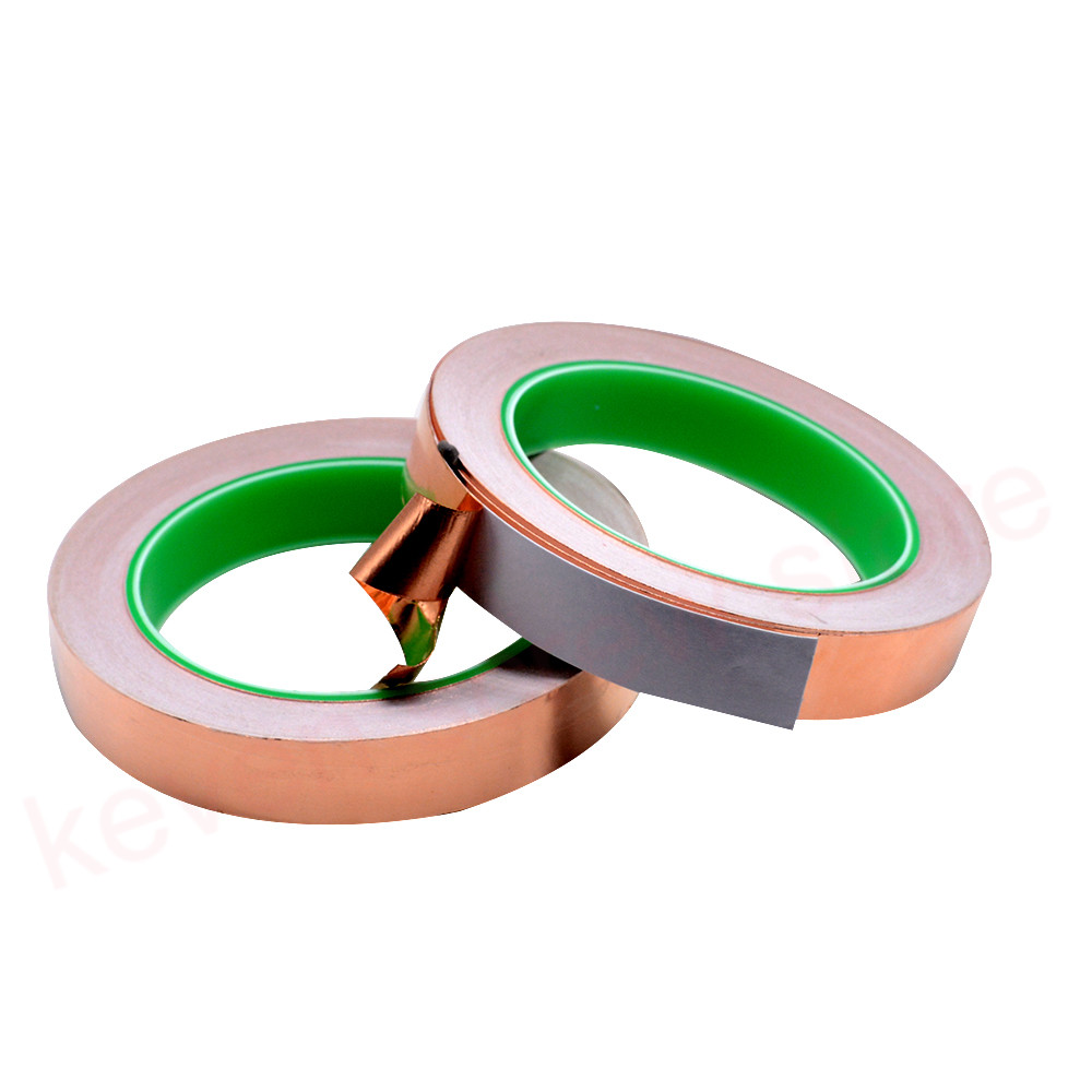 20M 3mm 4mm 6mm 9mm 15mm 17mm Double Guide Copper Foil Tape Pure Copper Conductive Adhesive Tape Shield Tape Single Side Glue