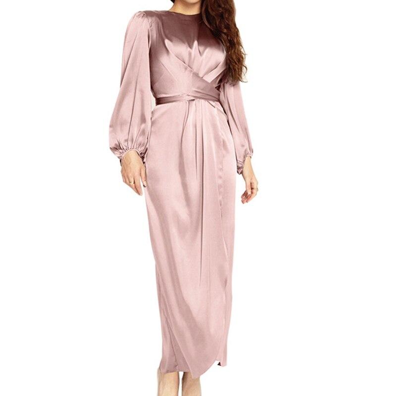 Для женщин мусульманский атласная Пышное Платье макси с длинным рукавом стильные Перекрестные брюки Обёрточная бумага спереди самоустана...