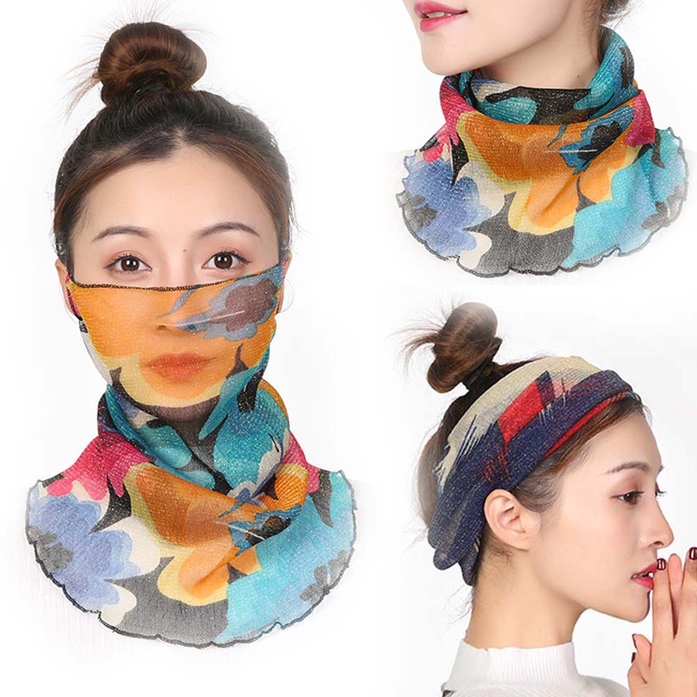 Bright Silk Bib Neck Cover Sun Protection Hanging Ear Veil Summer Scarf Breathable Mesh Scarf
