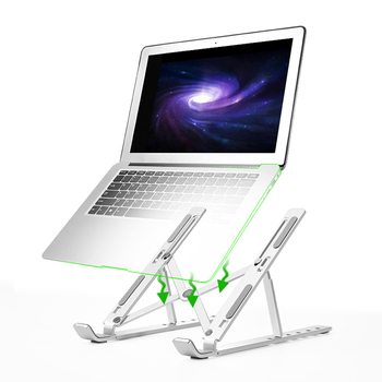 Laptop Stand Height Adjustable Aluminum Laptop Riser Holder For MacBook Air Pro Portable Ergonomic Notebook Stand to 7-17 inch wiwu folding portable laptop stand 11 17 3 inch notebook universal stand for macbook aluminum adjustable cooling support laptops