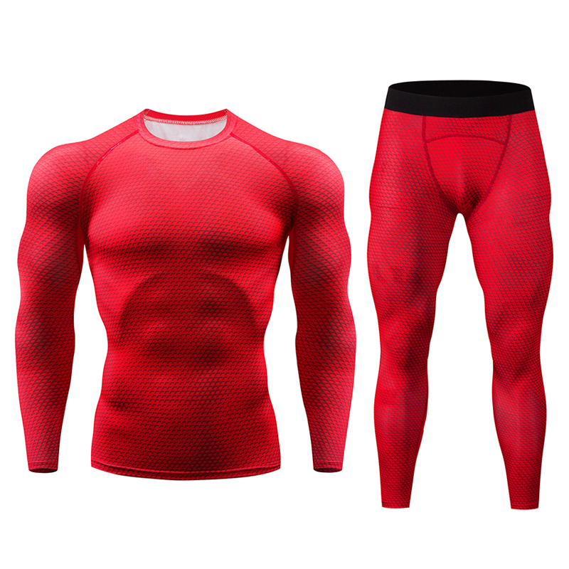 The Latest Pure Black 3D Fitness Compression Set T-shirt Men's Long-sleeved MMA Muscle Shirt Leggings Bottoming Shirt Tight Suit