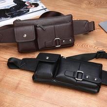 Men's belt bag classic solid color PU leather waist bag outdoor leisure travel fanny pack purse