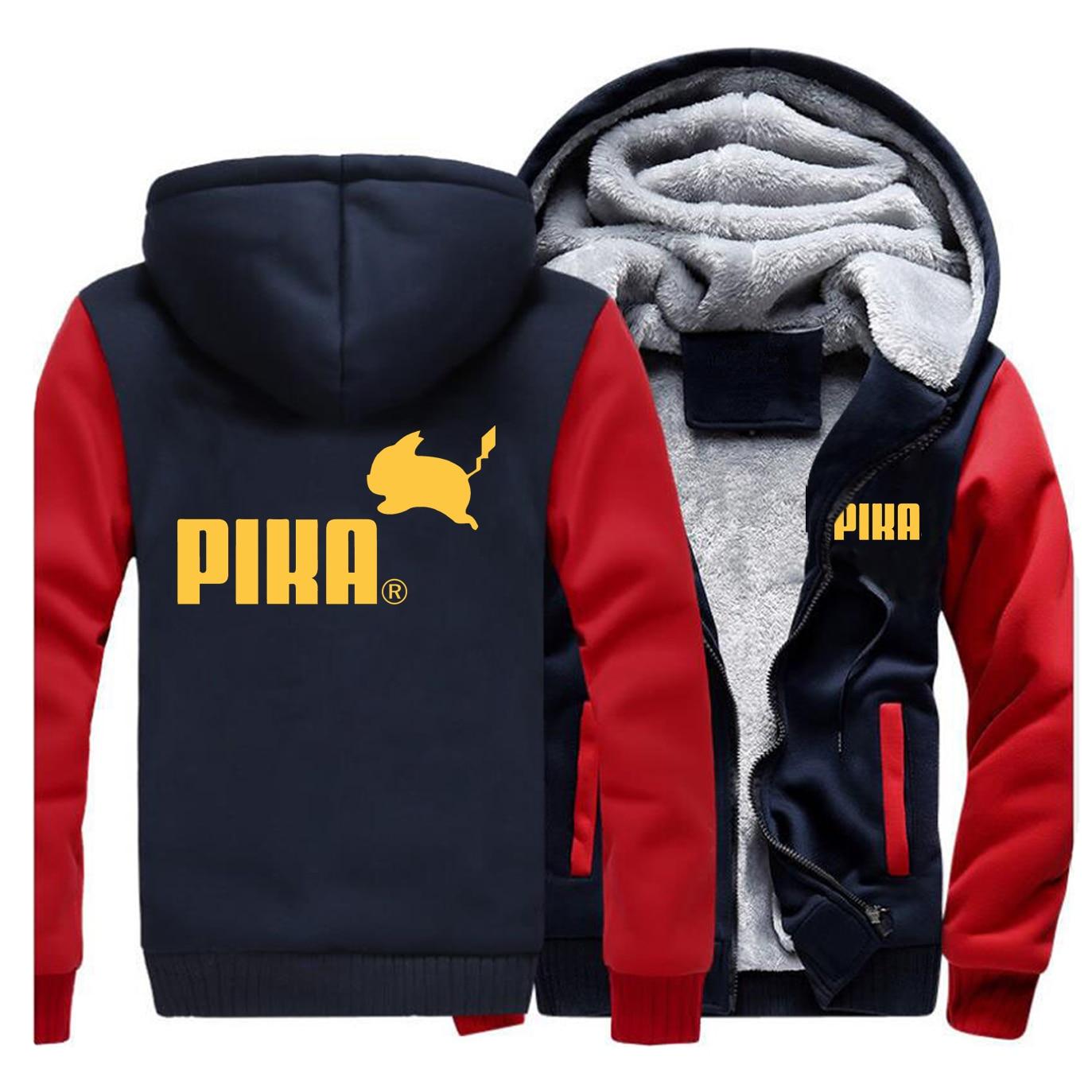 2019 Winter Pika Thicken Hoodies Japanese Anime Pokemon Men Jacket Pikachu Boy Sweatshirt Fleece Warm Men's Casual Streetwear