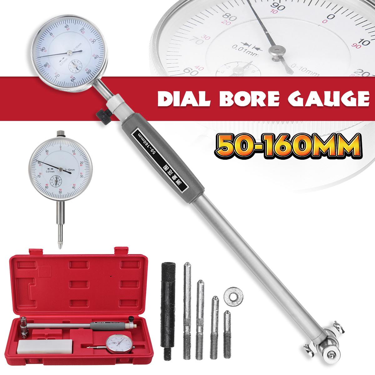 Zeast 50-160mm/0.01mm Precise Metric Dial Bore Gauge Cylinder Internal Small Inside Measuring Gage Test