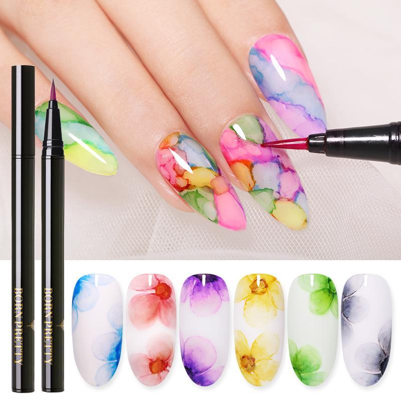 BORN PRETTY Blossoming Gel Nail Polish Water Ink Color Nail Painting Pen Flower Irregluar Effect Nail Art Varnish DIY Design