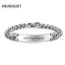 Pulsera con cadena curva de acero inoxidable para hombre, brazalete personalizado en Color plateado, barra con iniciales de nombres, fecha, joyería masculina