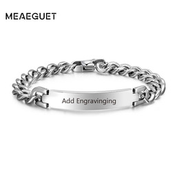 Stainless Steel Curb Chain ID Men Bracelet In Silver Color Custom Bangle Personalized Bar With Names Initials Date Male Jewelry