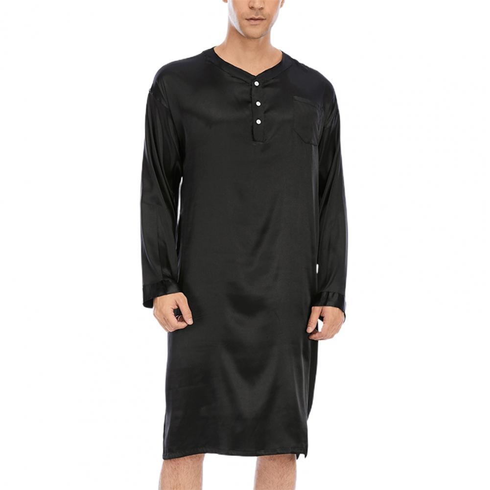 Men Summer Sleep Tops Short Sleeve Round Neck Solid Nightshirt Casual Loose Nightwear Men Sleepwear Nightclothes