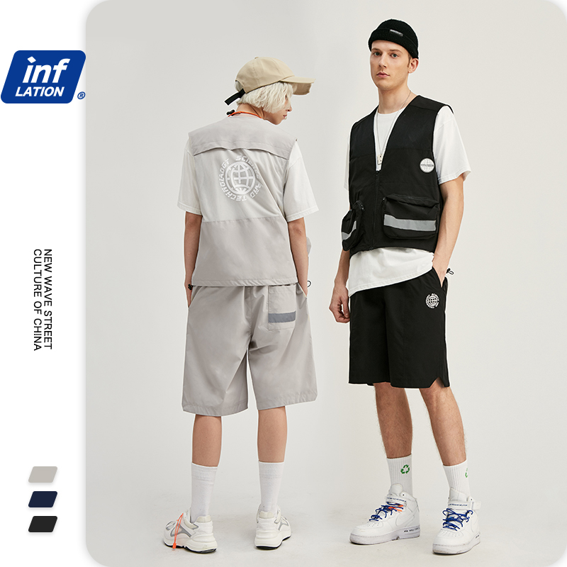 INFLATION Male Summer Suit Streetwear Jersey Utility Gilet  For Men & Loose Fit Style Men Shorter Shorts With Elastic Waist