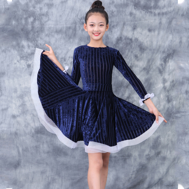 2020 Latin Practice Dress Children Girls Latin Competition Dance Dress Cha Cha Rumba Samba Tango Performance Latin Dancewear