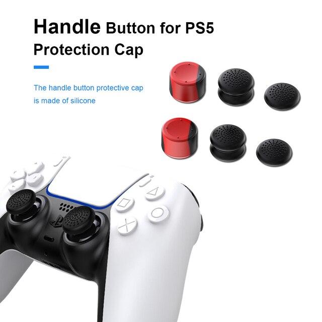 غطاء وحدة تحكم PS5 ، عصا تحكم تناظرية غير قابلة للانزلاق لـ PlayStation5 ، هزاز سيليكون 6 في 1 مع قبعة عالية ، ملحقات