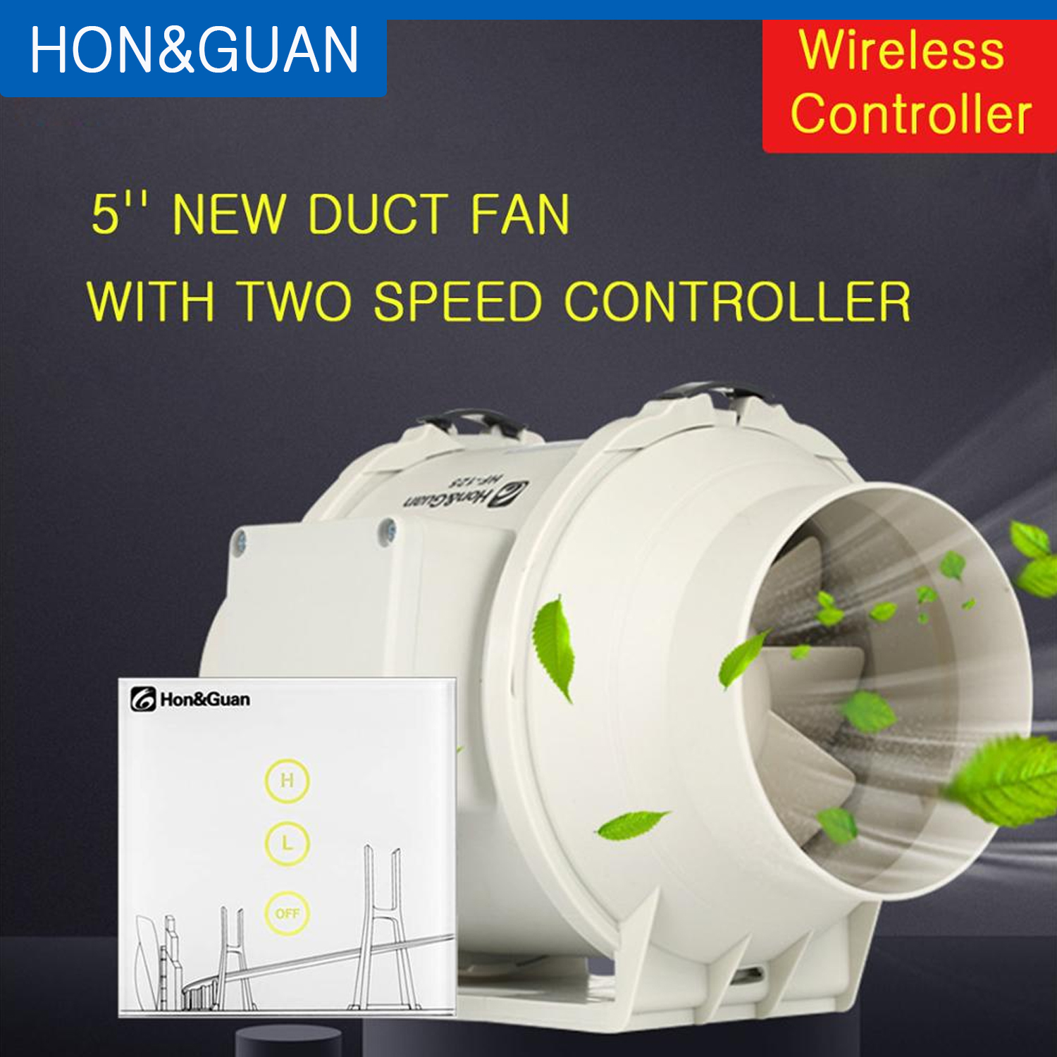5'' 220V Air Extractor Mixed Flow Muffler Conduit Fan With Two Speed Wireless Controller Extractor Fans For Kitchen Bathroom