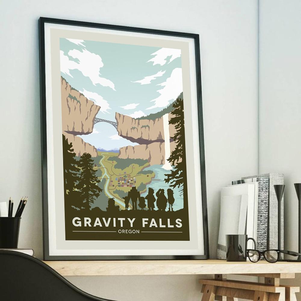 Gravity Falls Park narodowy druku Vintage Art malowanie podróży zaprasza cię do odwiedzenia następujących miast, Retro plakaty krajobraz, podróże plakaty obraz na ścianę