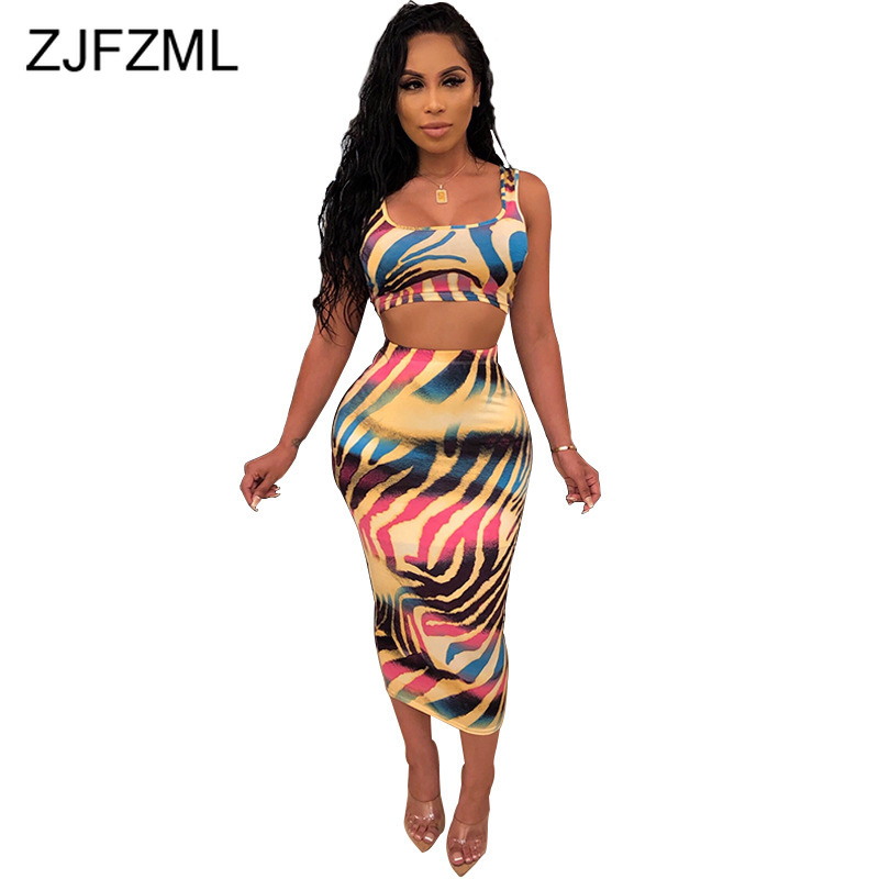 Colorful Printed Casual Two Piece Matching Set Women Sleeveless Tank Square Collar Crop Tops + High Waist Package Hip Maxi Skirt