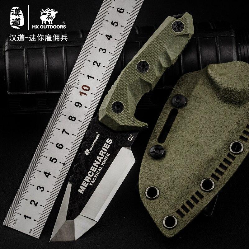 HX OUTDOORS D2 nůž G10 rukojeť D2 ocelová čepel taktický rovný - Ruční nářadí - Fotografie 2