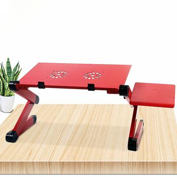 Przenośny laptop biurko aluminiowy komputer stojak na biurko stół ergonomiczny stół z lep na myszy i wentylator do nauki i rozrywki tanie i dobre opinie Biurko komputerowe Meble sklepowe bed and sofa aluminum Meble szkolne standing desk computer desk lap desk bed desk adjustable desk