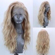 Meinmod-peluca sintético de cabello rizado para mujer, postizo de encaje frontal, sin pegamento, color rubio Natural, resistente al calor, transpirable