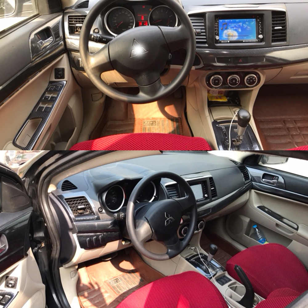 Voor Mitsubishi Lancer EX2009-2016 Interieur Centrale Bedieningspaneel Deur Handvat Carbon Stickers Decals Auto Styling Accessorie