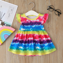 12m 5y baby girl ruffle fly sleeve linen dress new kids girls solid dresses button falbala princess party tops clothes vestido Kids Dresses For Girls Fly Sleeve Striped Rainbow Princess Pageant Gown Birthday Party Dress 2020 New Summer Baby Girl Clothes