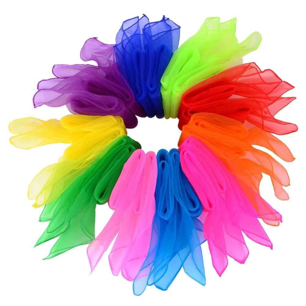 14 Piezas Bufandas de Baile Pa/ñuelos de Colores de Malabares Bufandas de Banda R/ítmica Cuadrados