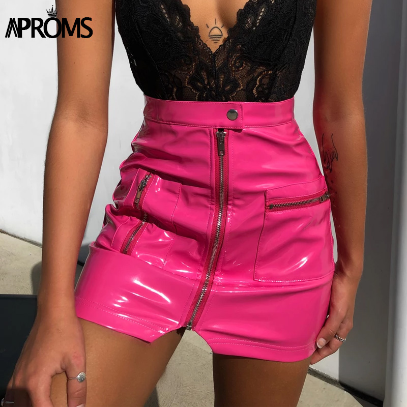 Aproms Black PU Leather Front Zipper Mini Skirt Women Autumn Winter Short Pencil Skirts Female 2020 Sexy Streetwear Pink Bottoms