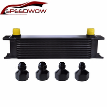 SPEEDWOW 10Row AN10 Aluminum Stacked Plate Engine Transmission Oil Cooler British Type Radiating Kit Cooling System Universal