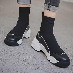 Image 4 - FEDONAS الجوارب أحذية النساء الخريف الشتاء الدافئة حذاء من الجلد عالية الكعب أسافين منصة حذاء كاجوال امرأة جديدة حقيقية أحذية من الجلد