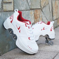 2020 HOT Leather Roller skates 4 wheels adults unisex casual shoes children skates White Double Line Skates Women Men shoes