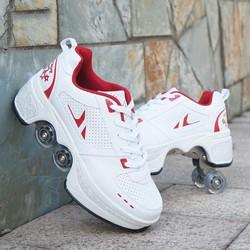 Freies Verschiffen 2020 Neue Männer Rollschuhe 4 Räder Erwachsene Unisex Casual Schuhe Kinder Skates Doppel Linie Rollschuhe Schuhe