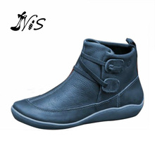Winter Women's Comfortable Flat Ankle Boots Large Size with Sets of Feet Sports