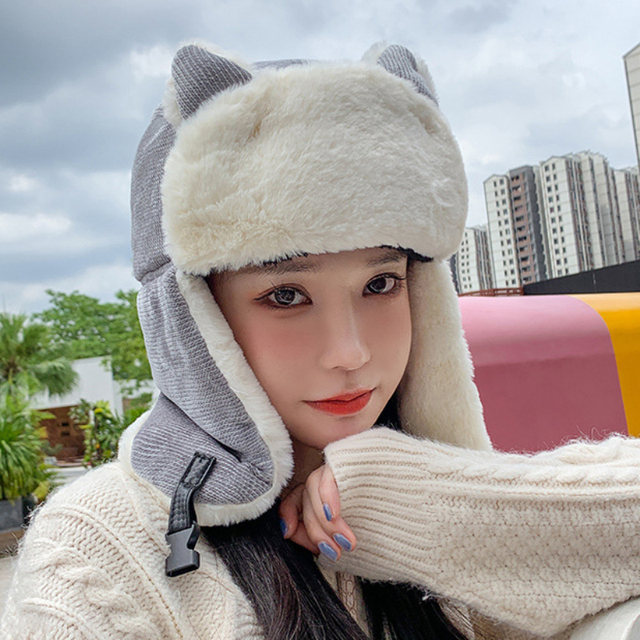 ht3324 новая милая женская зимняя шапка с ушками женская толстая фотография