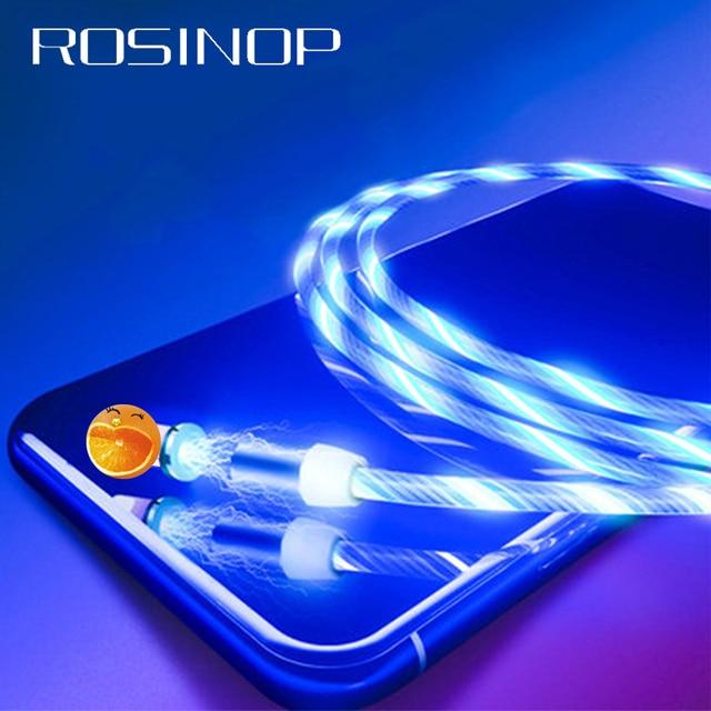Магнитный кабель Rosinop 2.4A для быстрой зарядки 3 в 1 для iphone, светящийся Магнитный зарядный кабель USB Type C для xiaomi Micro USB Android