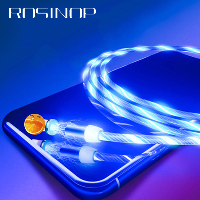 Rosinop 2.4A Fast Charging 3 in 1 Magnetic Cable For iphone Glowing USB Type C Magnet Charger Cable For xiaomi Micro USB Android-in Mobile Phone Cables from Cellphones & Telecommunications
