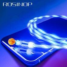 Rosinop 2.4a carregamento rápido 3 em 1 cabo magnético para iphone brilhante usb tipo c ímã carregador cabo para xiaomi micro usb android