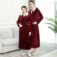 Новинка, мужской зимний удлиненный плотный фланелевый теплый банный халат с капюшоном, мужской халат, термальный халат для женщин и мужчин, роскошное кимоно, халаты