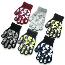 Детские Зимние перчатки для мальчиков и девочек; коллекция года; Детские Зимние теплые вязаные камуфляжные перчатки Wapiti; милые перчатки для экрана; Guantes Invierno