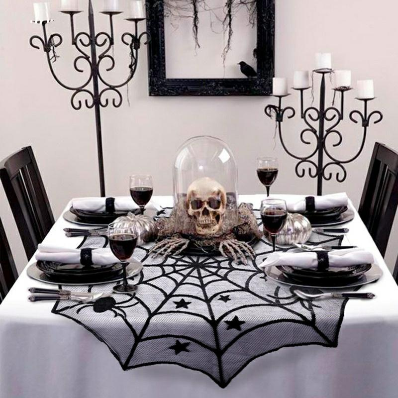 100cm Round Tablecloth Halloween Party Decoration Lace Backdrop Spider Web Black Runner Halloween Horror Props modern luxury