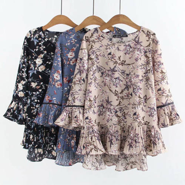 chiffon top floral print loose and free 1
