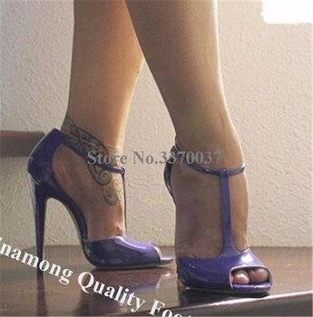 Linamong Brand Design Peep Toe Stiletto Heel T-strap Pumps Patent Leather Purple Wine Red High Heels Formal Dress Wedding Shoes