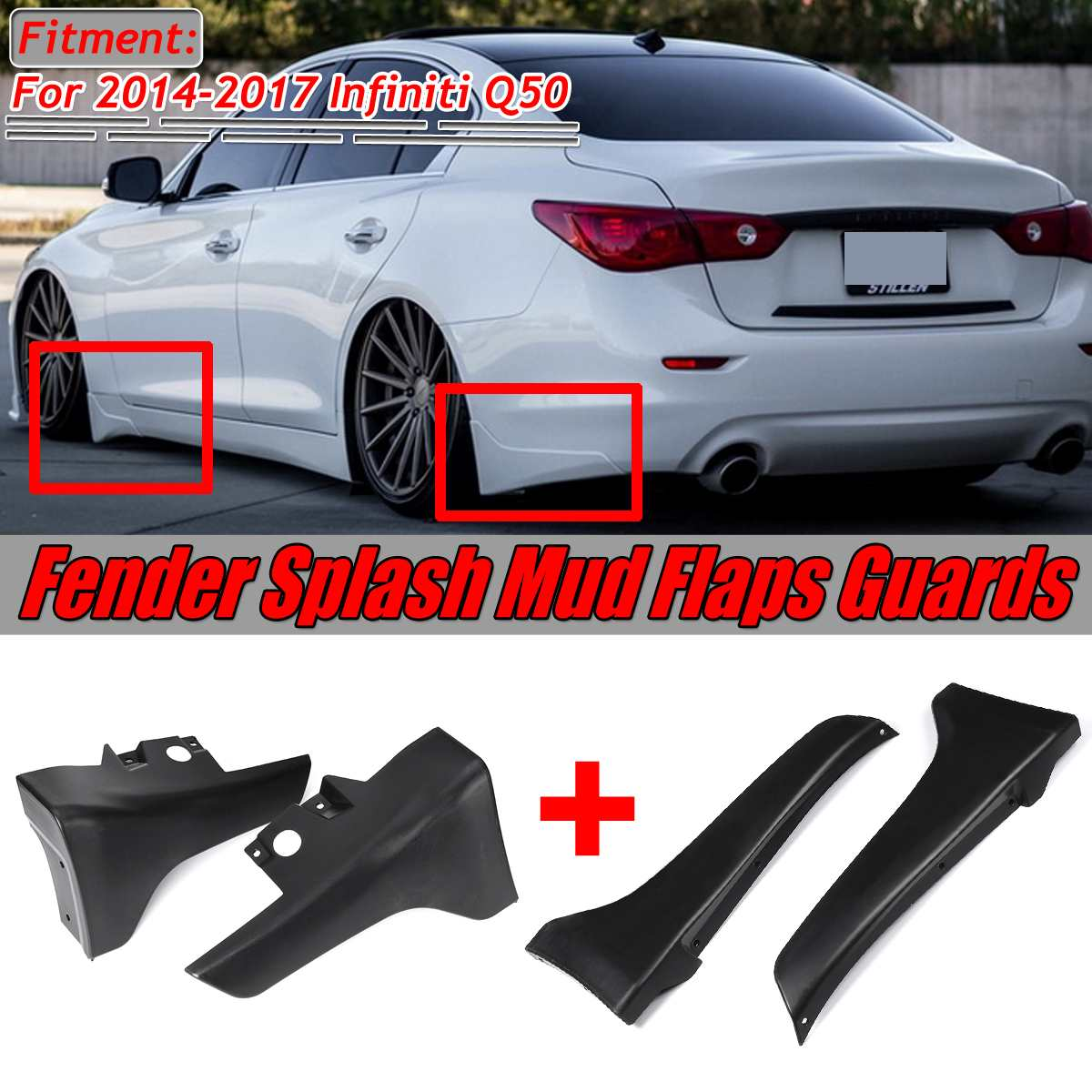 Black Q50 Front/Rear Bumper Lip Car For Fender Splash Mud Flaps Guards Guard Angle Corner Protection For Infiniti Q50 2014-2017